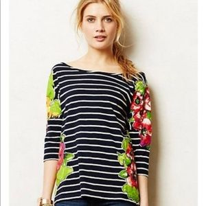 Meadow Rue Sz M Navy Blue Striped Top Floral